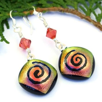 Spiral Dichroic Glass Handmade Earrings Peach Yellow Swarovski Jewelry
