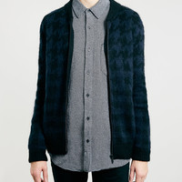 BLUE MOHAIR DOGTOOTH BOMBER JACKET - Exclusives - Clothing - TOPMAN USA