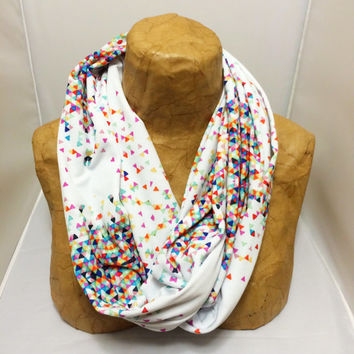 Colorful Knit Scarf -  Maudlin Funfetti Infinity Scarf - Confetti Scarf, Jersey Circle Scarf - Loop Scarf, Eternity