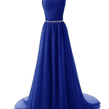 Beaded Straps Bridesmaid Prom Dresses with Sparkling Embellished Waist