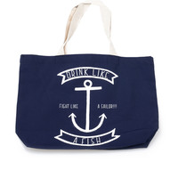Navy & White Drink Like A Fish Nautical Tote