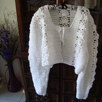 Womens Plus Size White Long-Sleeved Crocheted Lacy Bolero