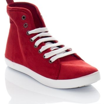 Kicking it Old School COOPER-11 High Top Faux Suede Lace Up Sneakers - Red