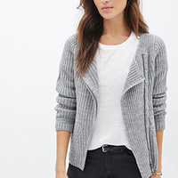 LOVE 21 Ribbed Asymmetrical Zipper Cardigan Heather Grey