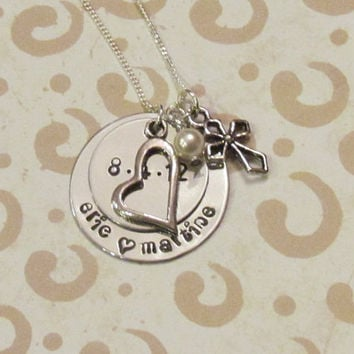 ANNIVERSARY  Date Necklace -- Engagement -- Hand Stamped Necklace -- Personalized