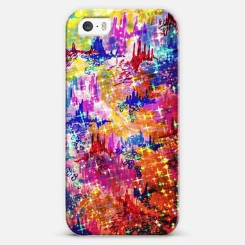 SKY RISERS 1 - Colorful Stars Abstract High Rise Buildings Castles Clouds Whimsical Fantasy Rainbow Bold Galaxy Cosmic Watercolor Painting iPhone 5s case by Ebi Emporium | Casetify