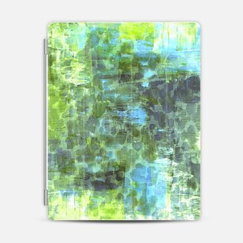 PASTEL JUNGLE 2 - Colorful Nature Green Turquoise Blue Animal Print Chic Trendy Stylish Girly Abstract Acrylic Painting Pretty Whimsical Splash Art iPad 3/4 case by Ebi Emporium | Casetify