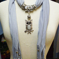 Light Grey  Colored Scarf with Owl Pendant                 handmade  womens  girls