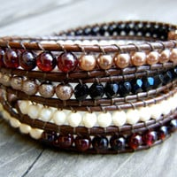 Beaded Leather Wrap Bracelet 4 Wrap with Garnet Red Gold Black and Champagne Czech Glass Beads on Natural Brown Leather Fall Bracelet