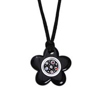 Back to School Kameleon Black Enamel Flower Pendant