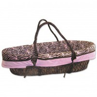Trend Lab Zebra Pink Sweet Safari Moses Basket Set - MBS-ZP