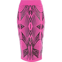 River Island Womens Pink wet look graphic print pencil skirt