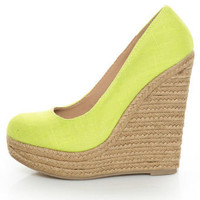 My Delicious Glow Yellow Neon Linen Espadrille Wedges - $29.00
