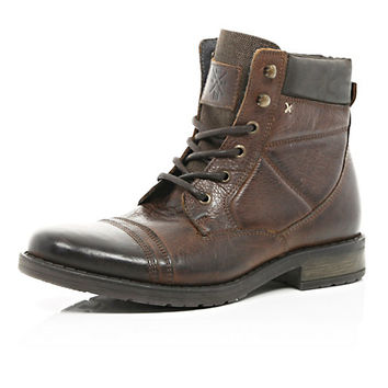 River Island MensBrown contrast panel lace up military boots