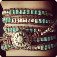 Western Turquoise Beaded Leather Wrap Bracelet, Southwestern Leather Bracelet, Bohemian Beach bracelet, 6X Wrap