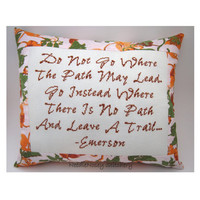 Cross Stitch Pillow, Emerson Quote, Fall Colors Pillow, Inspirational Quote