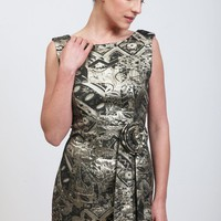 Homage to the 60's- Elegant brocade tube dress in Gold and black