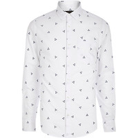 River Island MensWhite triangle embroidered shirt