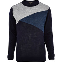 River Island MensNavy blue triangle color block sweater