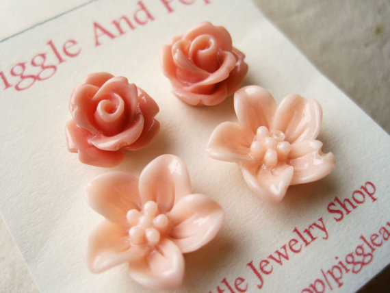 Pink Flower Earrings. Antique Rose Earrings. Flower Studs. Spring Fashion. Pink Earrings. Pink Rose and Lily. FSE2