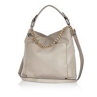River Island Womens Grey chain trim slouch bag