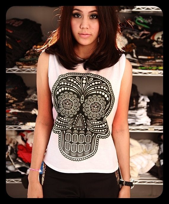 SKULL Obey Day Of The Death Crop Top Short Tank Top White Gold Shirt Women Size S M