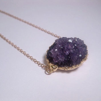 Magical Night Crystal Amethyst Druzy Necklace - 24k Gold Electroplated Edging - Purple - Drusy