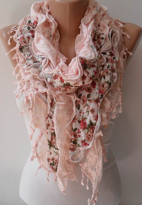 Salmon Lace and Cotton Scarf - Summer Collection
