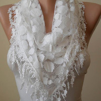White Lace Scarf - Polka Dot with White Trim Edge - Triangle - Trendy