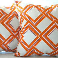 Decorative Pillow Cover Orange, Fuschia and White 18x18