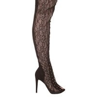 Zigi Pria Black Lace Thigh High Boot