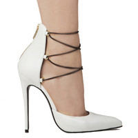Lust For Life Kiss Me Pump in White Leather