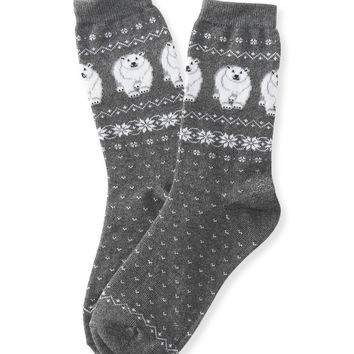Jacquard Polar Bear Crew Socks
