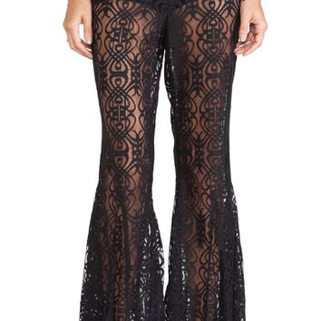 Anna Sui Birds Print Flare Pants in Black