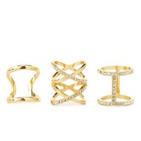 Caged Rhinestone Rings - 3 Pack by Charlotte Russe - Gold