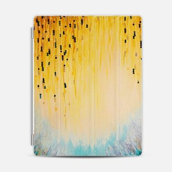 MYSTIC GARDEN Lovely Fairy Land Abstract Acrylic Fine Art Winter Colorful Fantasy Magical Yellow Turquoise Aqua Blue Minimal Chic Pastel Painting iPad 3/4 case by Ebi Emporium | Casetify