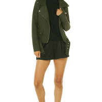 Wool-Blend Moto Jacket in Olive