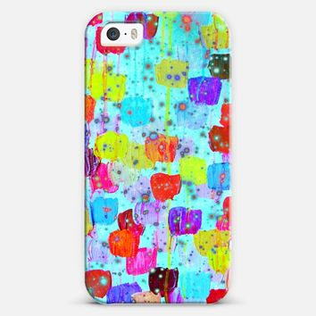 SPECKLE ME DOTTY - Bold Neon Turquoise Blue Aqua Cerulean Colorful Abstract Whimsical Rainbow Polka Dots Pattern Painting iPhone 5s case by Ebi Emporium | Casetify
