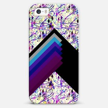 INTO THE FALL GEO in PURPLE - Whimsical Floral Abstract Watercolor Pattern Lilac Lavender Royal Blue Chic Geometric Chevron Stripes Bold Painting iPhone 5s case by Ebi Emporium | Casetify