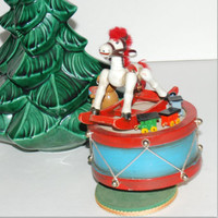 "Enesco 1979 ""Toy Land"" Vintage Wooden Musical Box Horse Teddy Train Christmas Decor"