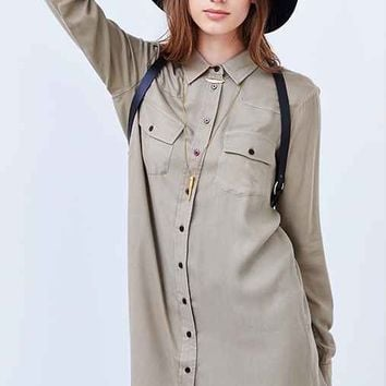 BDG Drapey Button-Down Shirtdress- Olive