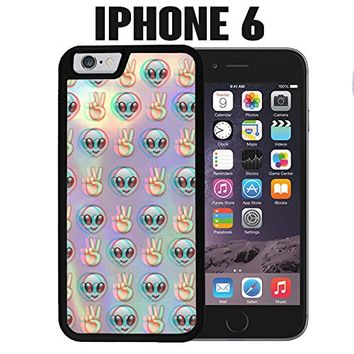 iPhone Case Psychedelic Alien Emoji Pattern for iPhone 6 Plastic Black (Ships from CA)