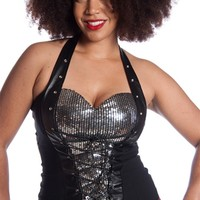 Sparkle in the Dark Plus Size Sequined Corset Halter Top - Black
