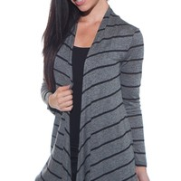 Open Front Striped Cardigan - Charcoal