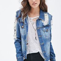 FOREVER 21 Distressed Denim Jacket Denim