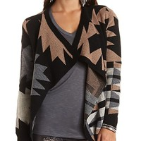 Geo Cascade Cardigan Sweater by Charlotte Russe - Black Combo