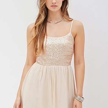 FOREVER 21 Sequined Cami Dress Champagne