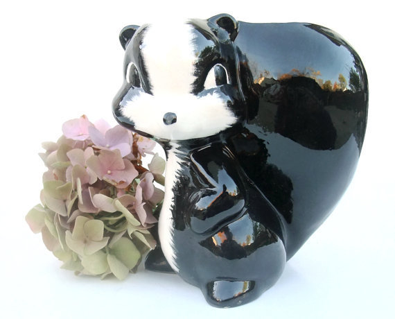 Vintage 1960s Ceramic Skunk Planter Collectible Vase Home Decor