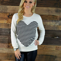 Love Is In The Air Striped Heart Sweater