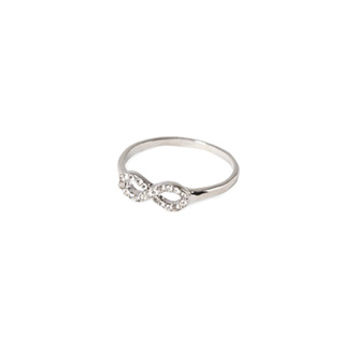 FOREVER 21 Rhinestoned Infinity Ring Silver/Clear